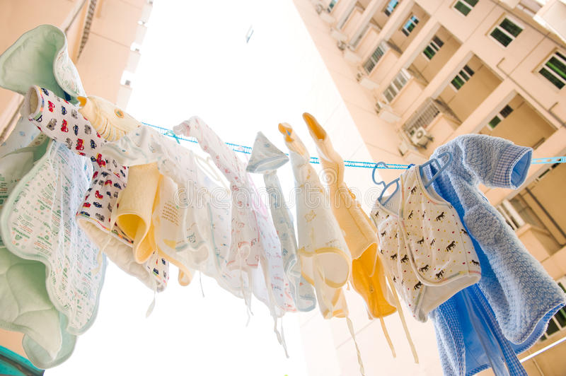 Drying baby clothes stock photography