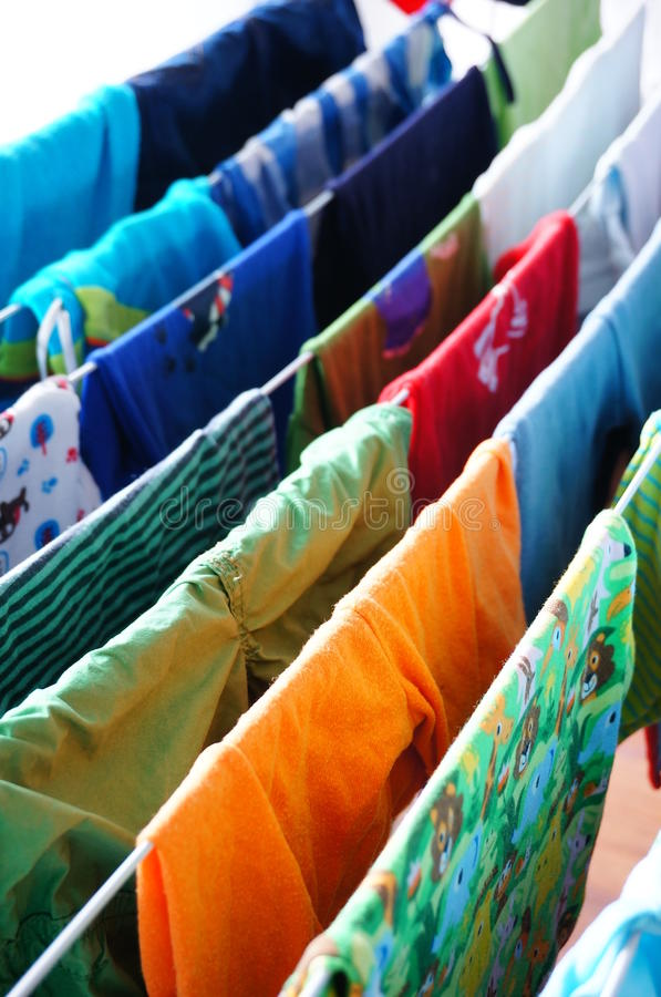 Drying baby clothes stock photos