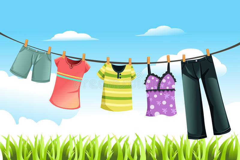 Drying clothes royalty free illustration