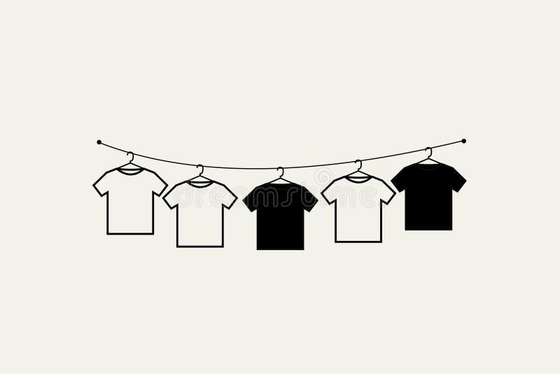 Drying clothes print minimalist poster stock illustration