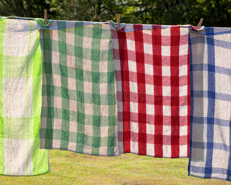 Drying Dish Towels royalty free stock photo