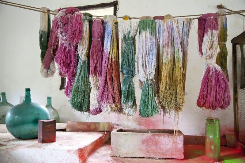 Colorfull wool at La Granja Esporles Mallorca Spain royalty free stock images