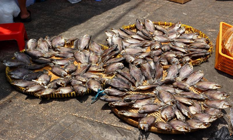 Drying fish on market stock photography