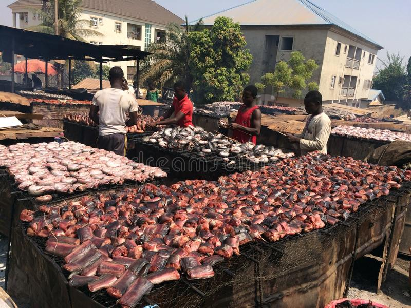 Drying of fish by smoking stock photo