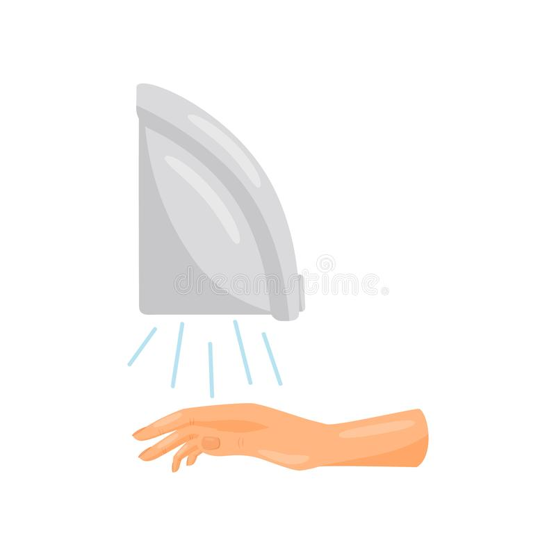 Drying hands with air blower, prevention of infectious diseases, health care and sanitation vector Illustration on a. Drying hands with air blower, prevention of stock illustration