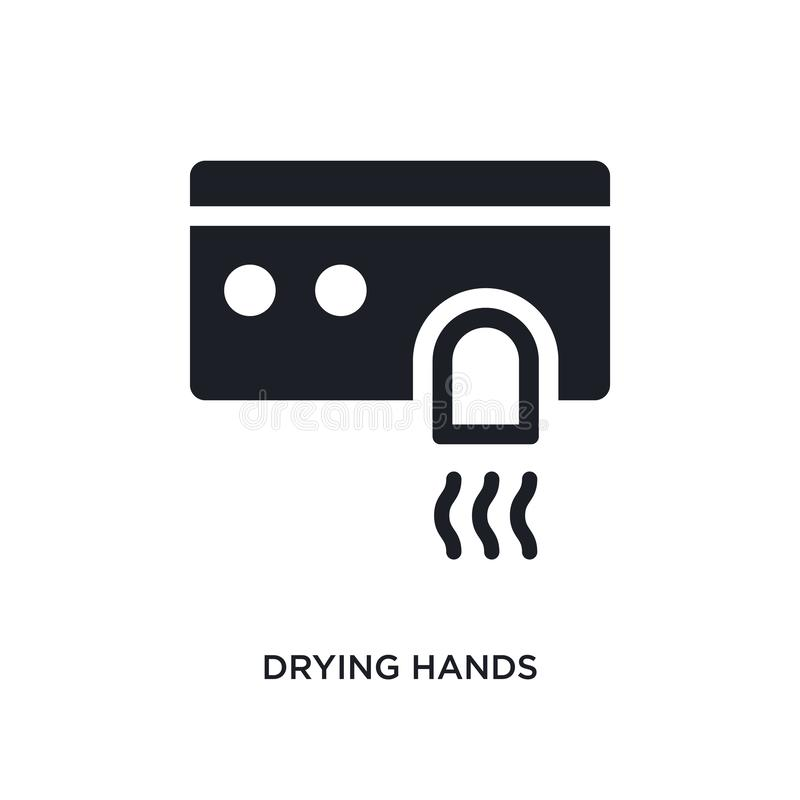 drying hands isolated icon. simple element illustration from hygiene concept icons. drying hands editable logo sign symbol design vector illustration
