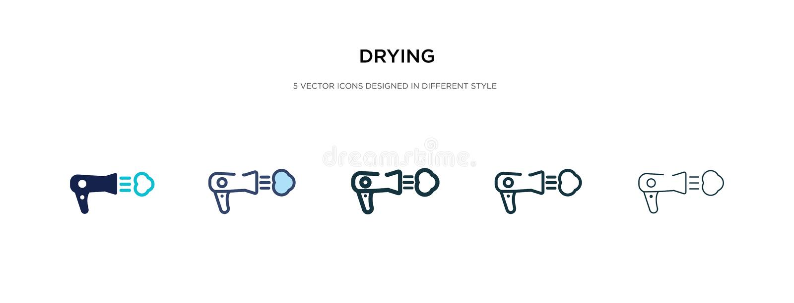 Drying icon in different style vector illustration. two colored and black drying vector icons designed in filled, outline, line royalty free illustration
