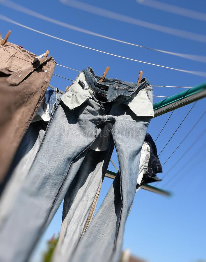Download Drying laundry stock image. Image of pants, clothespin - 14096809