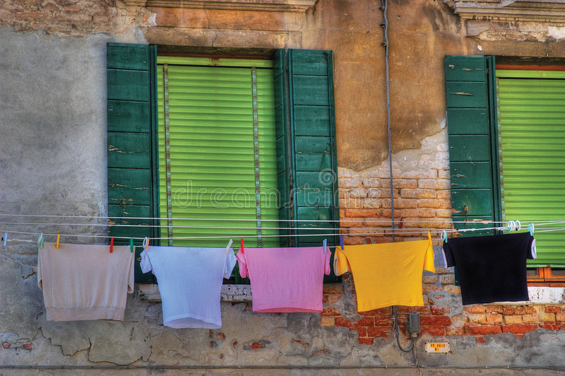 Drying laundry in Venice style.. royalty free stock photo
