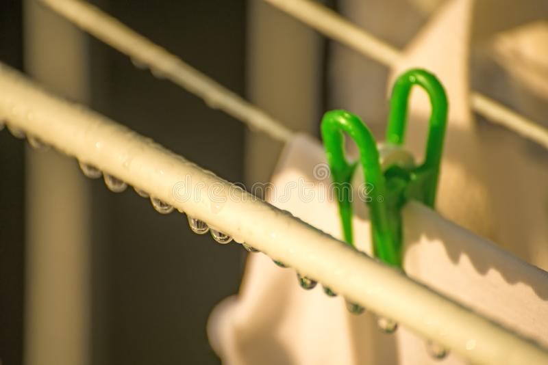 Drying rack with raindrops stock images