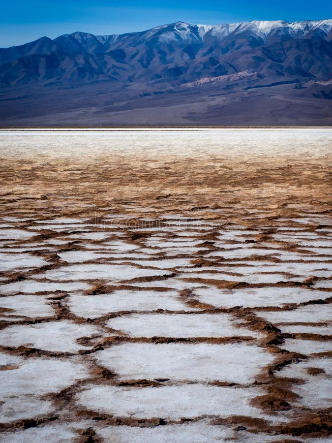 Drying salt flats create polygons stock photo