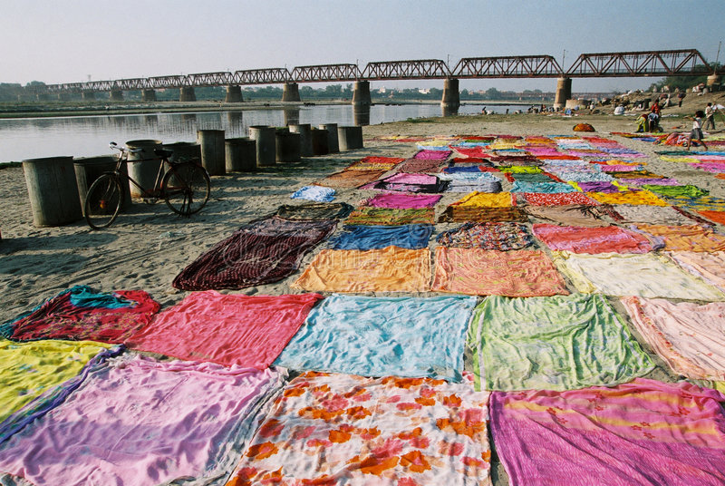 Download Drying sari, India stock photo. Image of blue, orange - 8749934