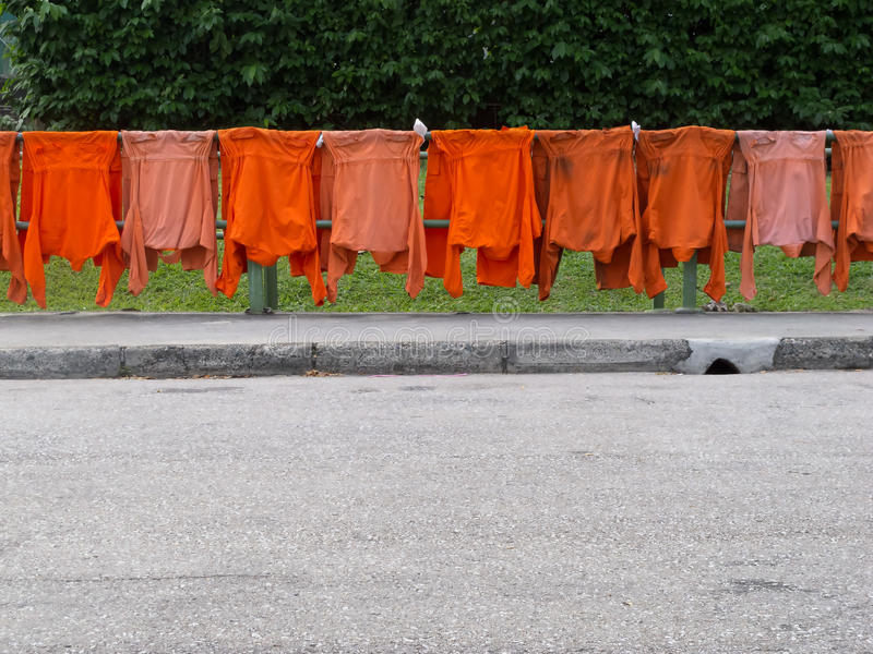 Drying uniforms by the roadside