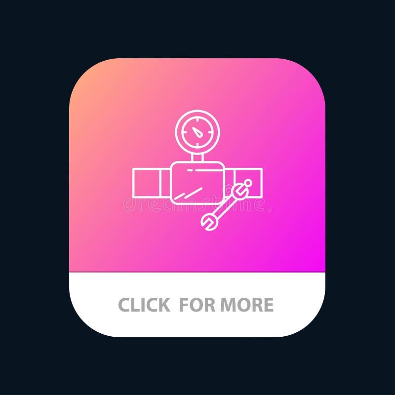 Drymba, budynek, budowa, naprawa, Gage App Mobilny guzik Android i IOS linii wersja ilustracja wektor
