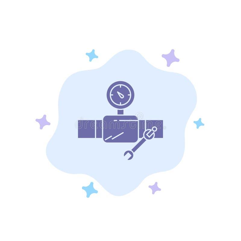 Drymba, budynek, budowa, naprawa, Gage Błękitną ikonę na abstrakt chmury tle ilustracja wektor