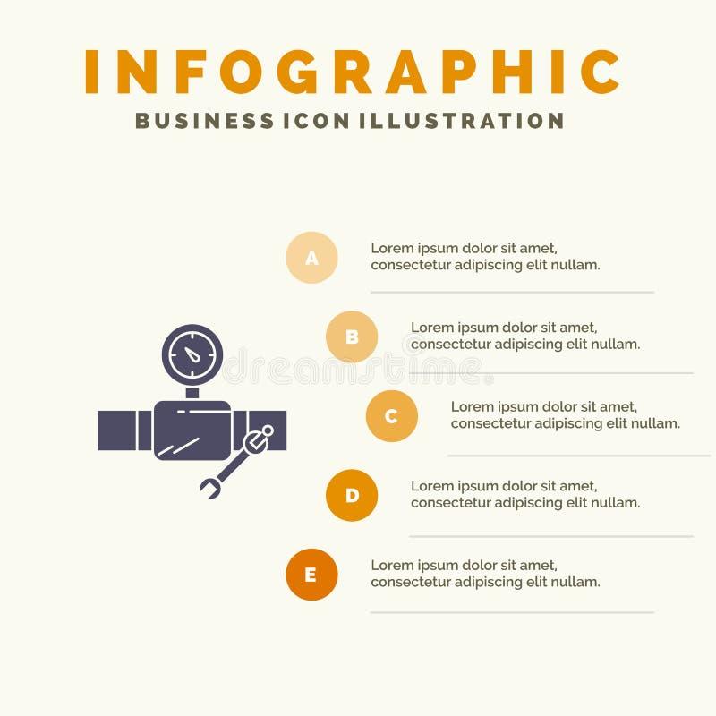 Drymba, budynek, budowa, naprawa, Gage ikony Infographics 5 kroków prezentacji Stały tło ilustracja wektor