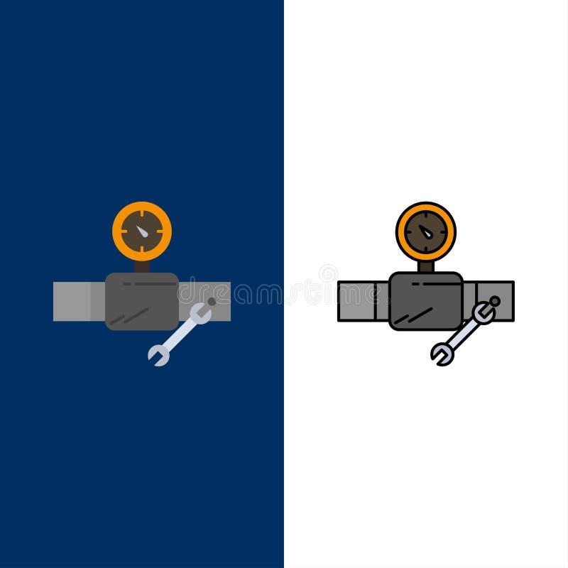 Drymba, budynek, budowa, naprawa, Gage ikony Mieszkanie i linia Wypełniający ikony Ustalony Wektorowy Błękitny tło ilustracja wektor