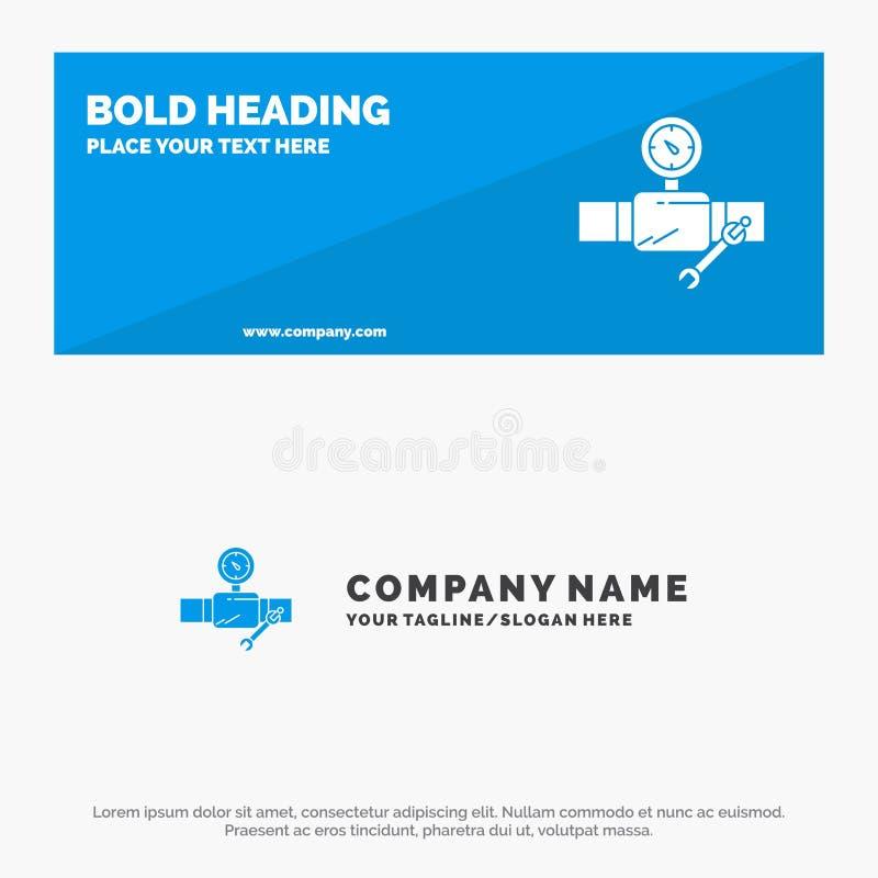 Drymba, budynek, budowa, naprawa, Gage ikony strony internetowej stały sztandar i biznesu logo szablon, ilustracji