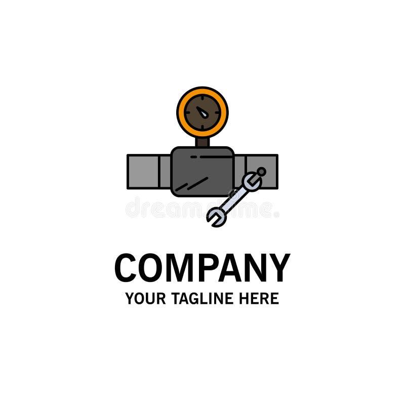 Drymba, budynek, budowa, naprawa, Gage logo Biznesowy szablon p?aski kolor ilustracji