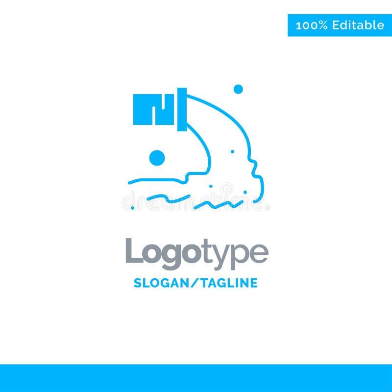 Drymba, zanieczyszczenie, Promieniotwórczy, Kanalizacyjny, Jałowy Błękitny Stały logo szablon, Miejsce dla Tagline royalty ilustracja