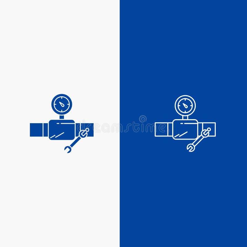 Drymby, budynku, budowy, naprawy, Gage linii i glifu Stałej ikony sztandaru glifu, Błękitnej ikony błękita Stały sztandar royalty ilustracja