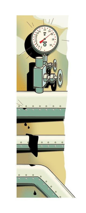 Drymby z ciśnieniowym pomiarowym przyrządem pokazuje maksymalną wartość Wydatna tubka Krople przepuszczający czarny ciecz ilustracji