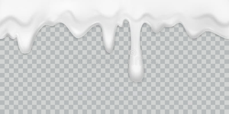 Drypa kräm Mjölka yoghurten, den hällande som vita kräm- gränsen med droppar dricker den krämiga isolerade vektorn för efterrättm vektor illustrationer