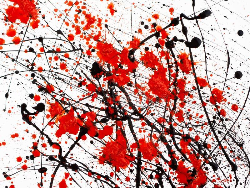 Drypa svart- och röd linjemålarfärg som isoleras på vit bakgrund Flödande färgstänk, droppar och slinga för bränsleolja stock illustrationer