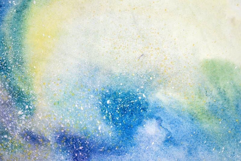 Dryper blå rosa purpurfärgad fläck för vattenfärgen klickar Abstrakt akvarellillustration arkivbild