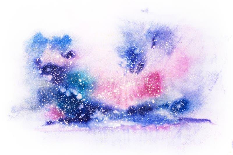 Dryper blå rosa purpurfärgad röd fläck för den ljusa vattenfärgen klickar abstrakt illustration stock illustrationer