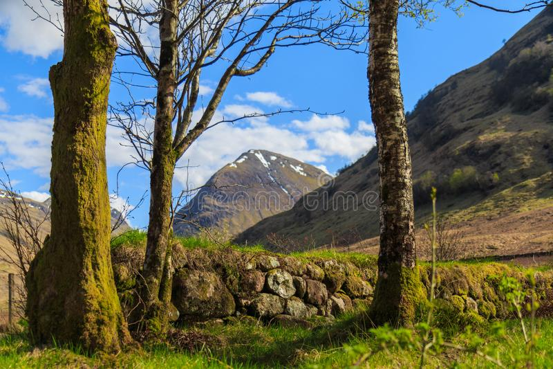 Drystane tama, Glencoe, Szkocja zdjęcia stock