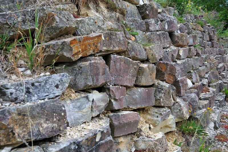 Drystone vägg i en trädgård arkivbild