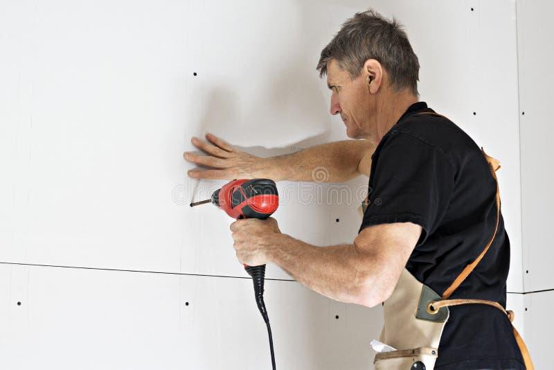 Drywall Installatie royalty-vrije stock fotografie