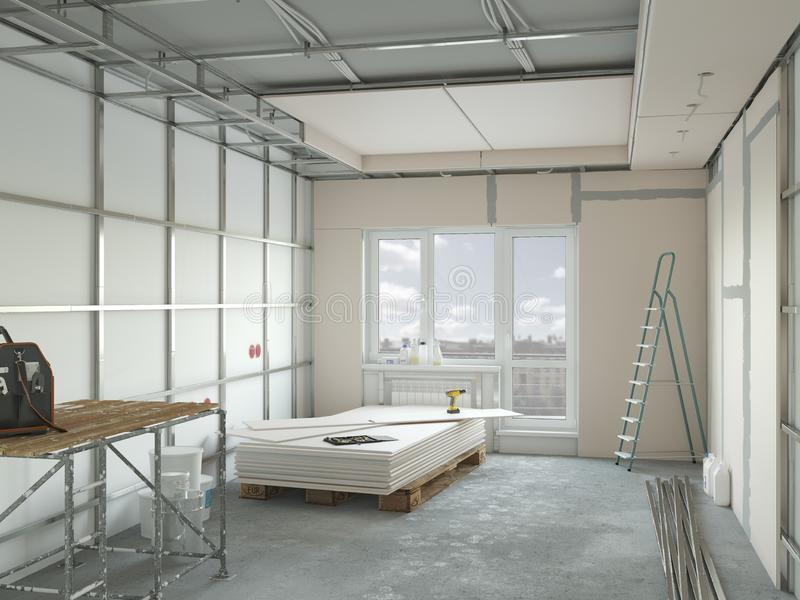 Drywall installation in the appartment repair. 3d illustration royalty free illustration