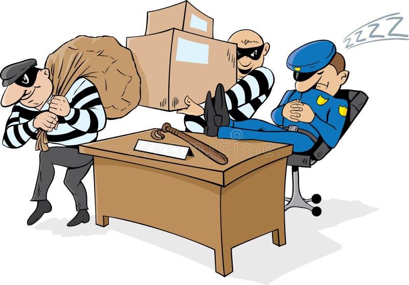 drzemanie strażowy policjant royalty ilustracja