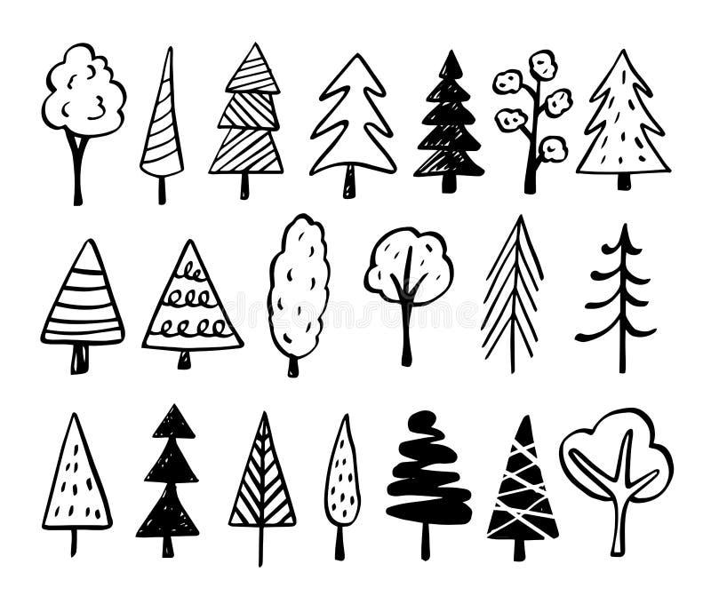 Drzew Doodles - ręki Rysujący nakreślenia royalty ilustracja