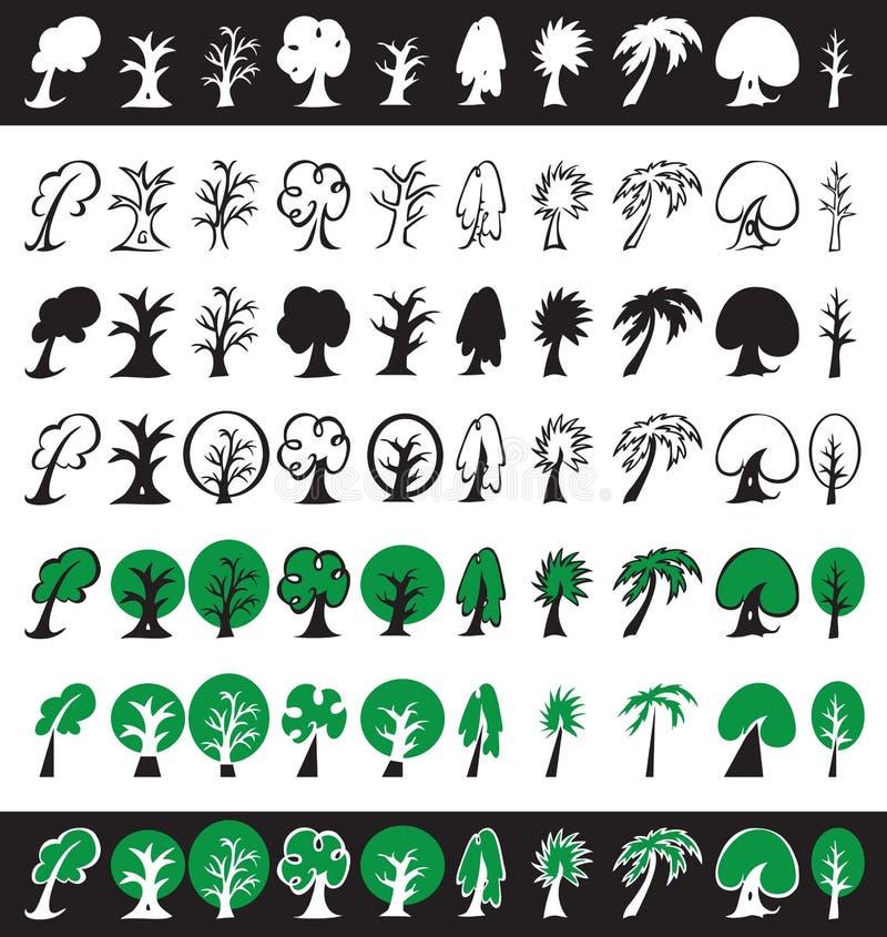 Drzew ikony, sylwetki i symbole, royalty ilustracja
