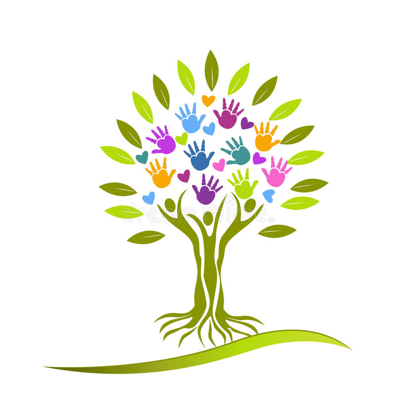 Drzew serc i ręk logo ilustracja wektor