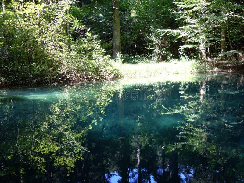 Drzewa, barwi?, za?wiecaj?, i cienie odbijaj? w Beiu Oko jeziorze fotografia royalty free