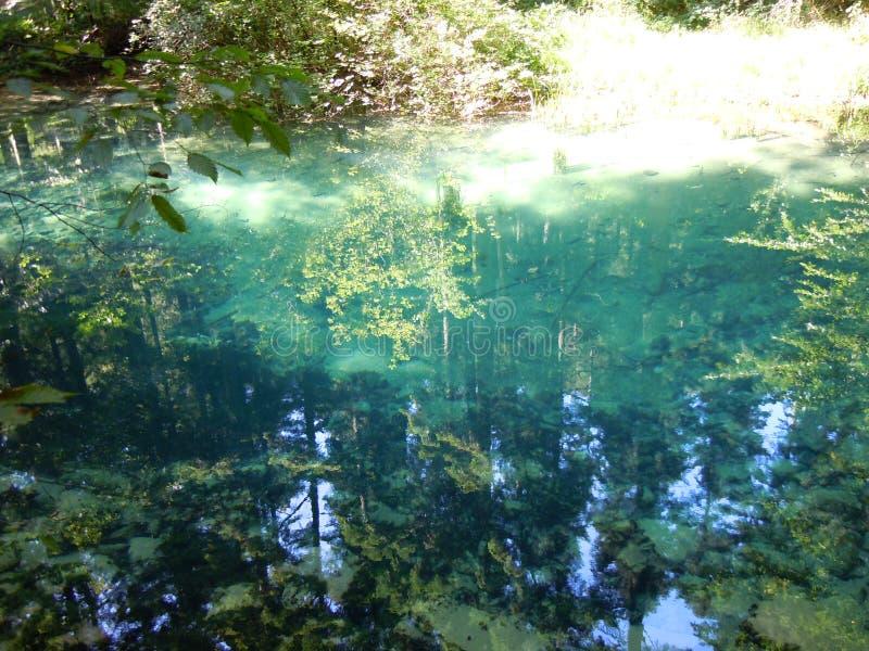 Drzewa, barwi?, za?wiecaj?, i cienie odbijaj? w Beiu Oko jeziorze obraz stock