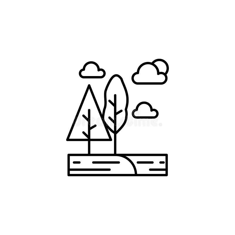 Drzewa, chmura, słońce konturu ikona Element krajobrazy ilustracyjni Znaki i symbolu konturu ikona mogą używać dla sieci, logo, ilustracji