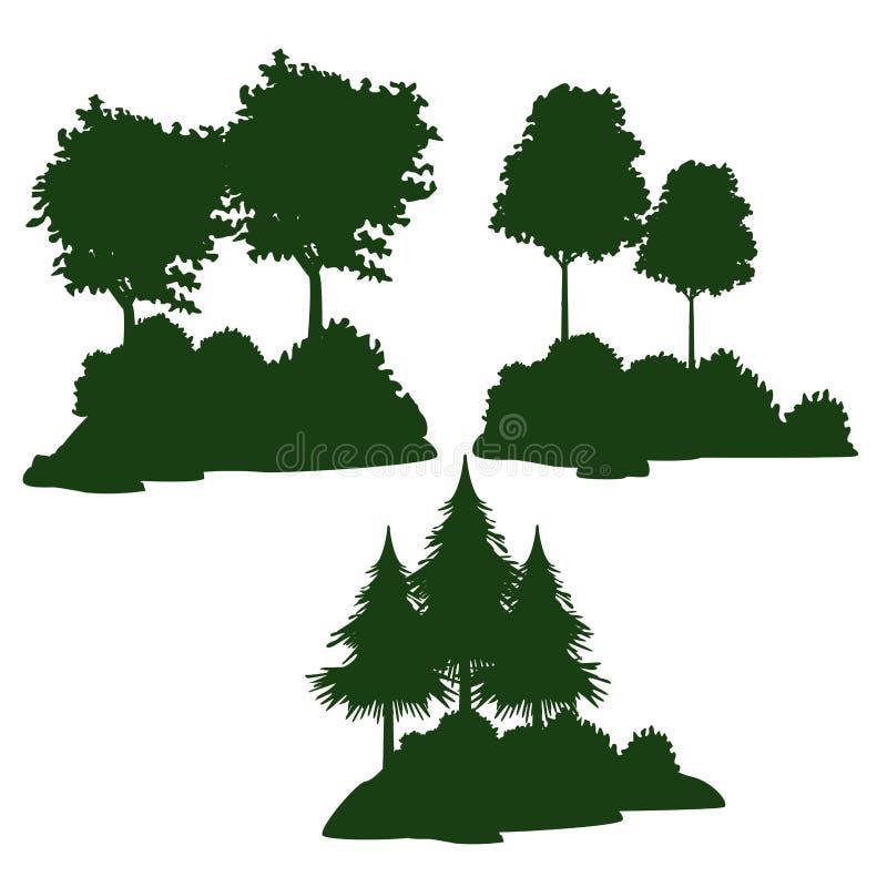 Drzewa i krzaki royalty ilustracja