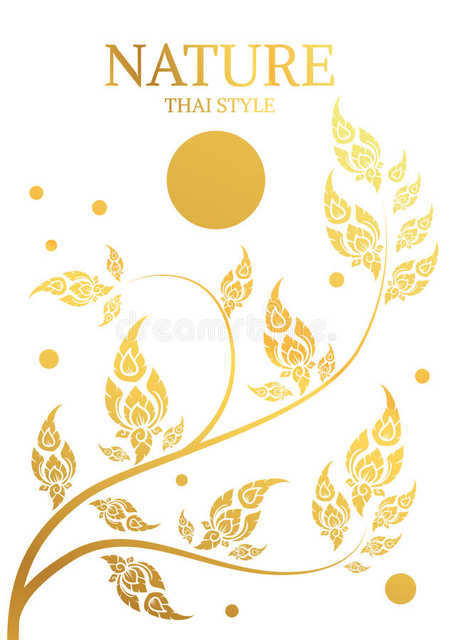 Drzewa i liścia złocisty kolor tajlandzka tradycja ilustracja wektor