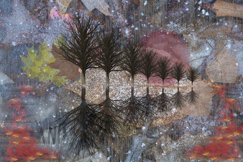 Drzewa i liście Ilustracyjni royalty ilustracja