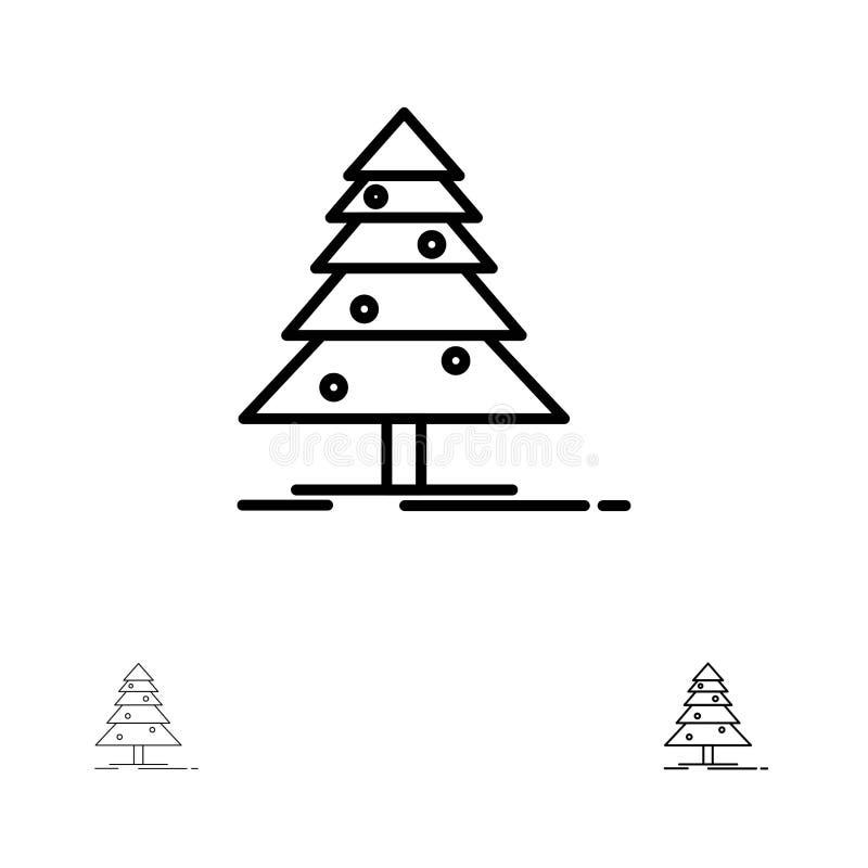 Drzewa, lasu, bożych narodzeń, XMas czerni linii ikony set, Śmiały i cienki royalty ilustracja