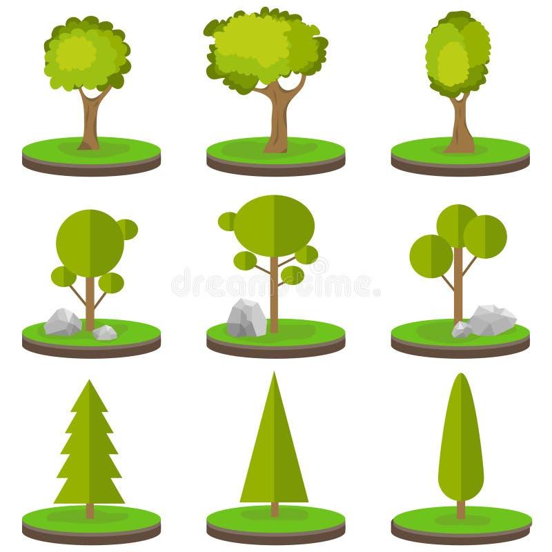 Drzewa na kawałku ziemi Set drzewa z kamieniami na zielonej trawie ilustracja wektor