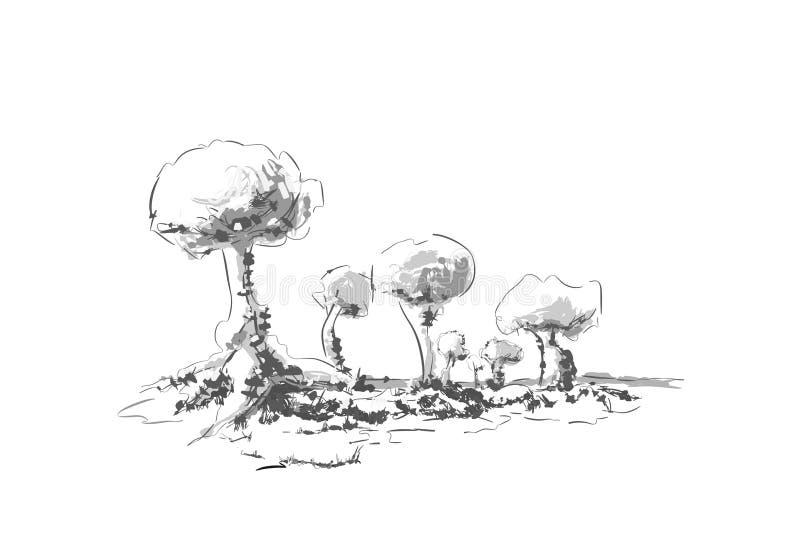 Drzewa, natura, rysująca ręką ilustracji