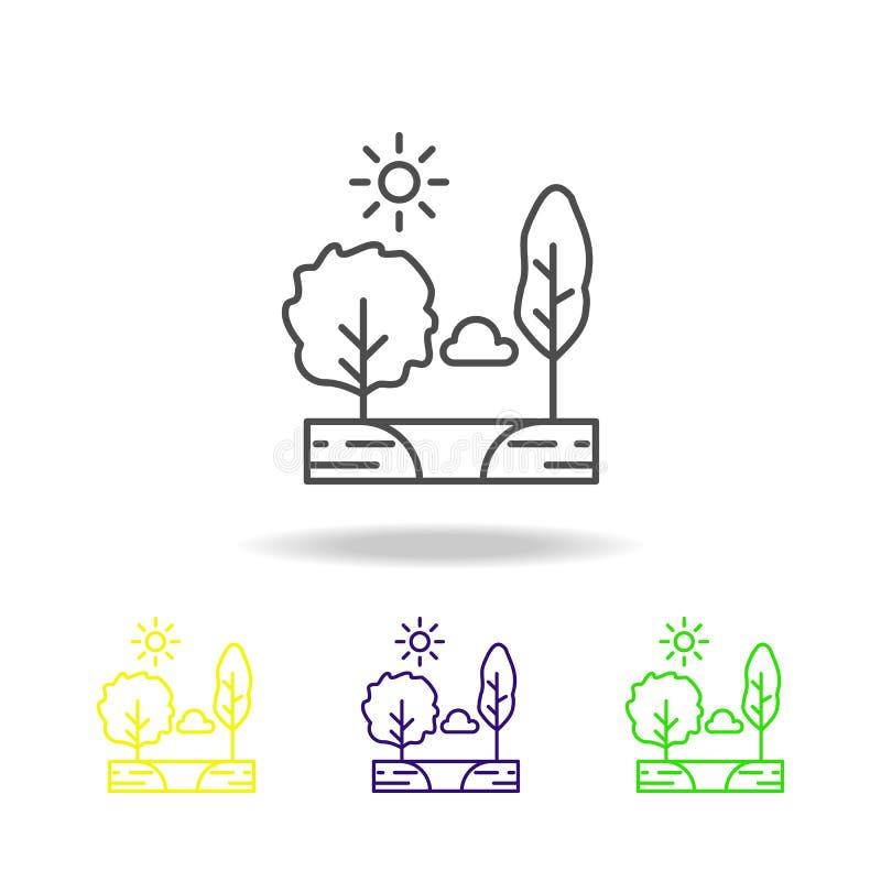 Drzewa obłoczni, pogodny, jezioro barwili ikonę Może używać dla sieci, logo, mobilny app, UI, UX royalty ilustracja