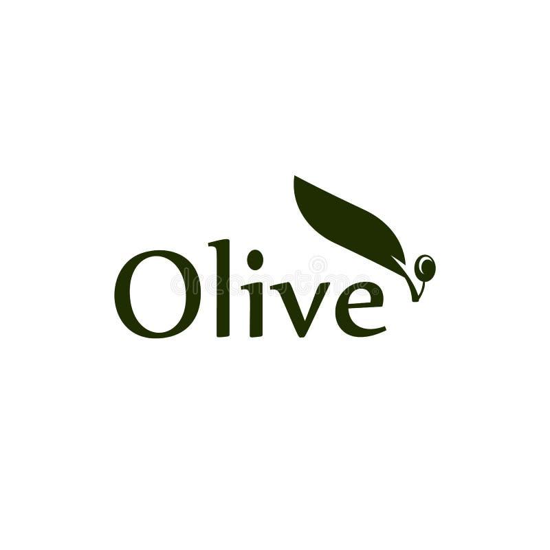 Drzewa oliwnego liścia, gałąź i owoc wektoru logo, Oliwka oleju znak royalty ilustracja