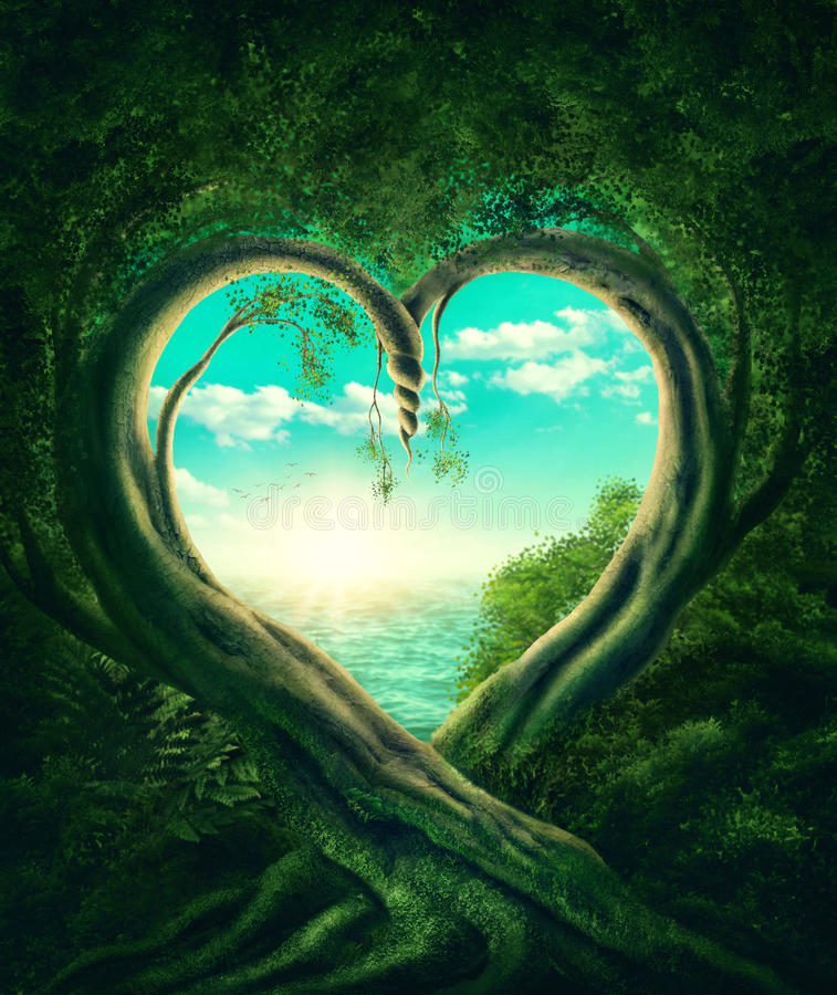 Drzewa tworzy serce ilustracji